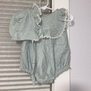 Mint Green Spring Romper with Bonnet